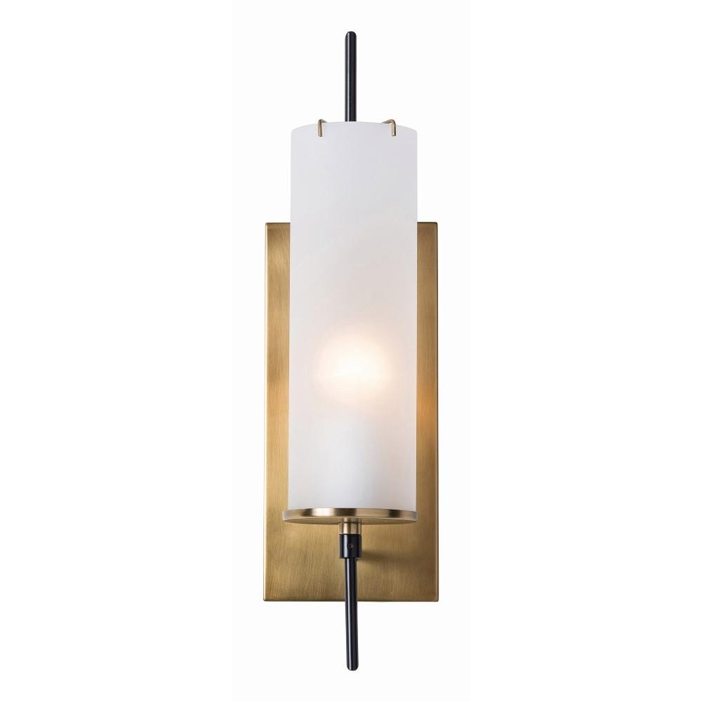Gregor Modern Frosted Glass Antique Brass Sconce Kathy Kuo Home