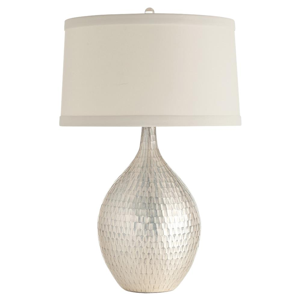 Arteriors Walter Hollywood Regency Antique Silver Tile Table Lamp