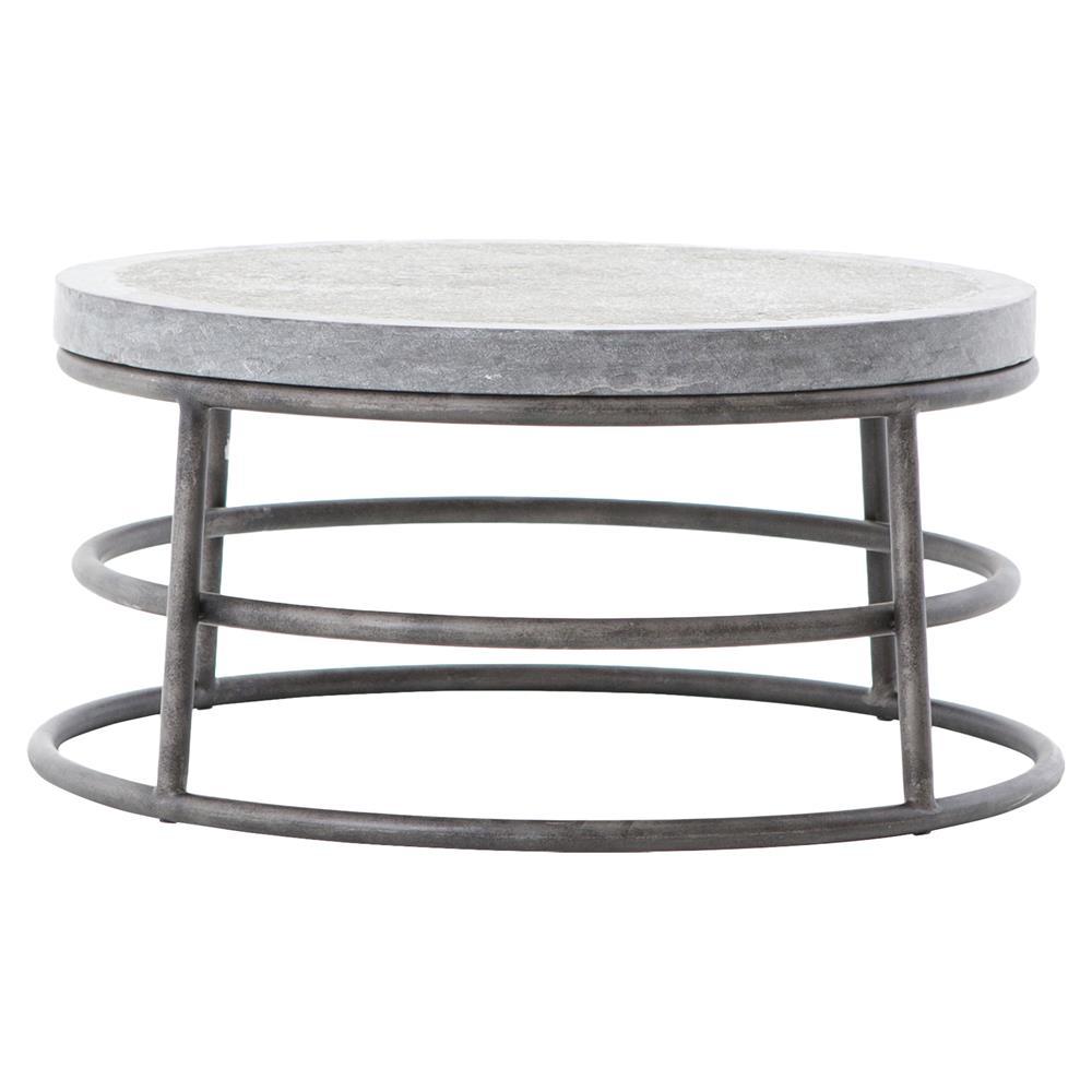 Wilma Industrial Loft Grey Bluestone Iron Ring Coffee Table