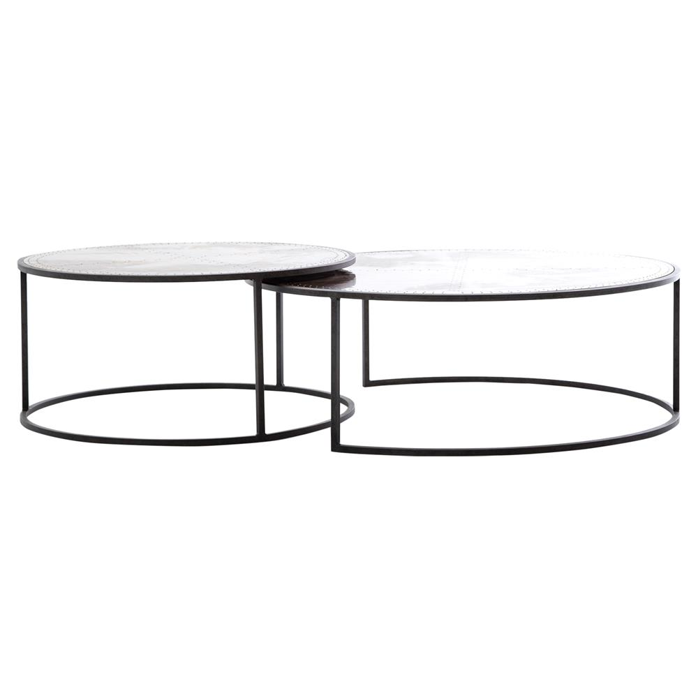 Industrial Coffee Table White: Ariel Industrial Loft Copper Studded Nesting Coffee Table