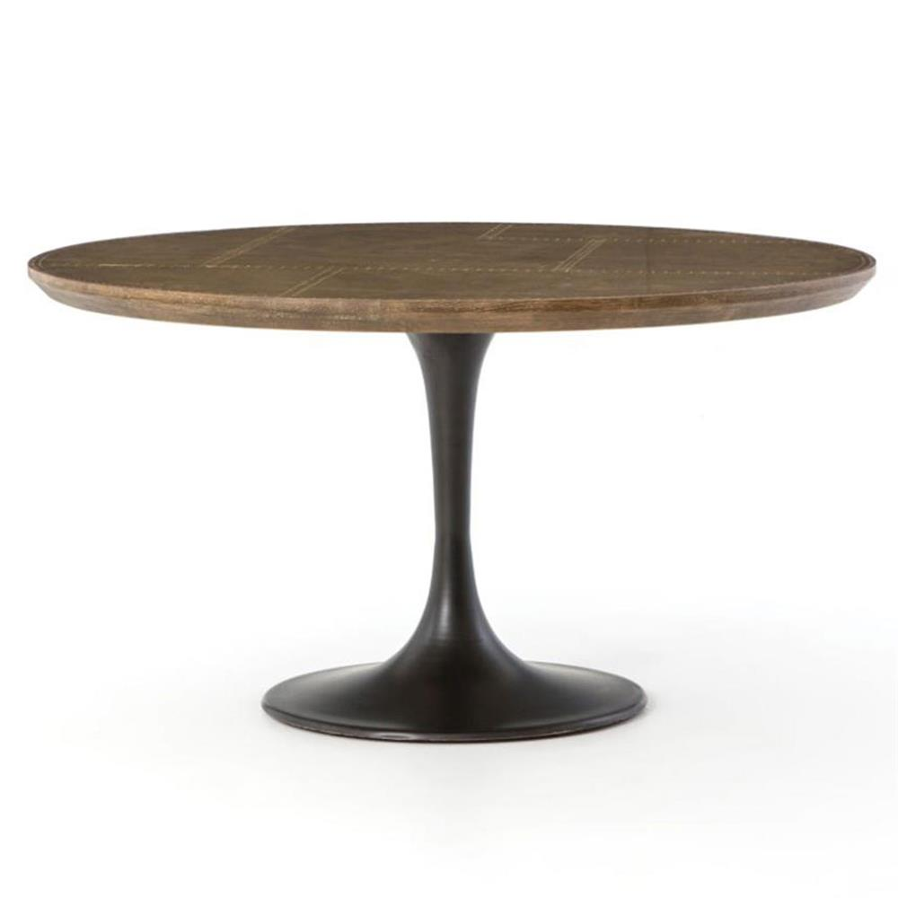 Charles industrial brass round tulip iron dining table for Tulip dining table