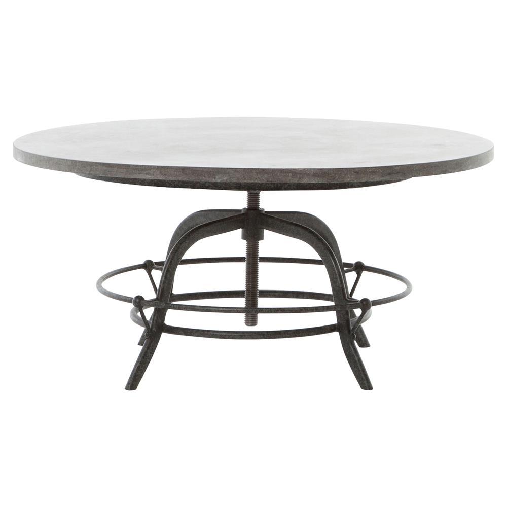 Leonardo Industrial Loft Round Bluestone Coffee Table Kathy Kuo Home