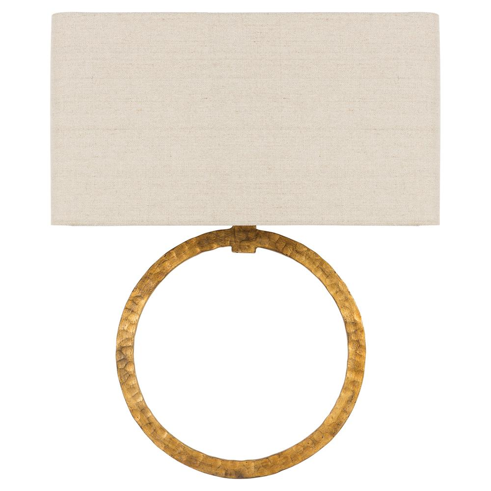 Gold Wall Sconces With Shades : Carlton Regency Hammered Gold Ring Shade Wall Sconce Kathy Kuo Home