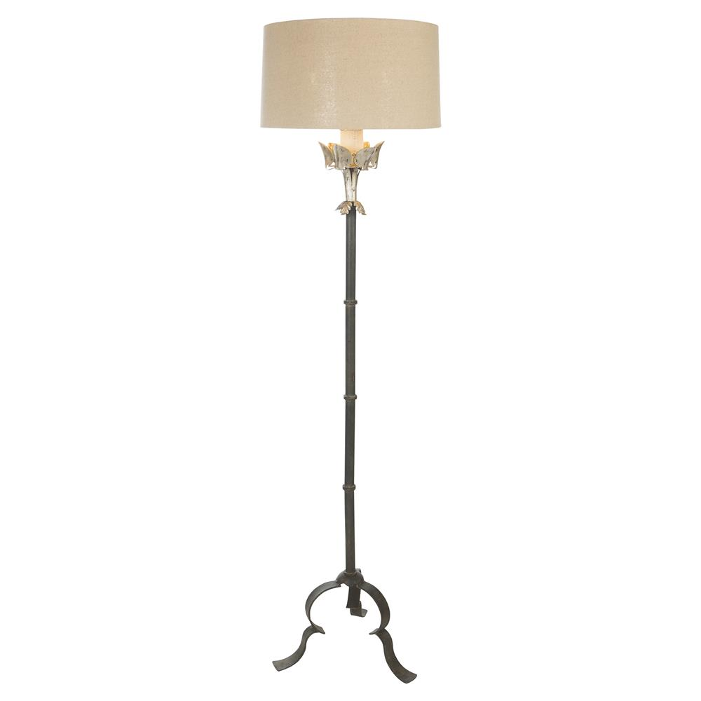 Lefevre French Country Silver Leaf Iron Floor Lamp