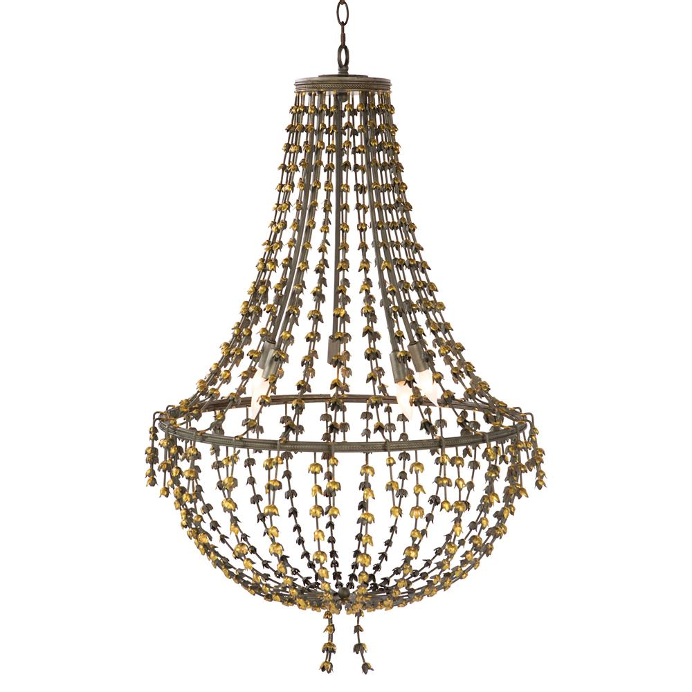 Vignetta French Country Antique Gold Rose Bud Chandelier