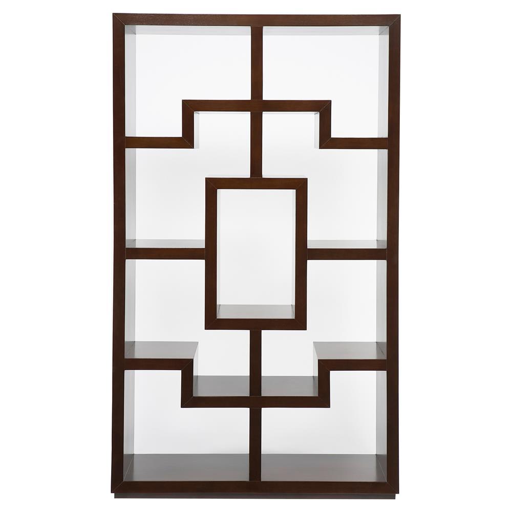 Obsie Modern Classic Geometric Warm Chestnut Bookcase  Kathy Kuo Home