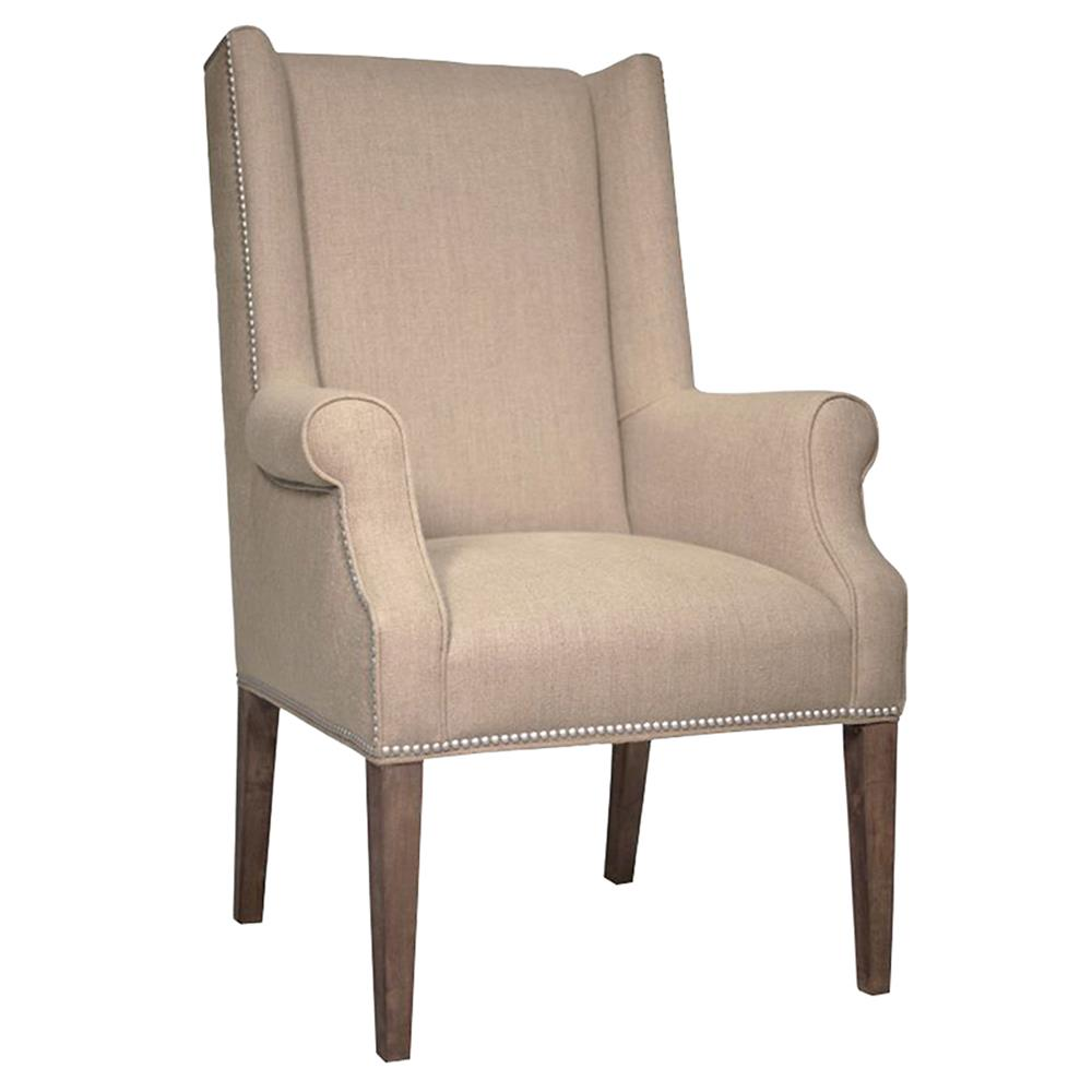 Zinnia modern tan linen wing arm chair kathy kuo home for Modern arm chair