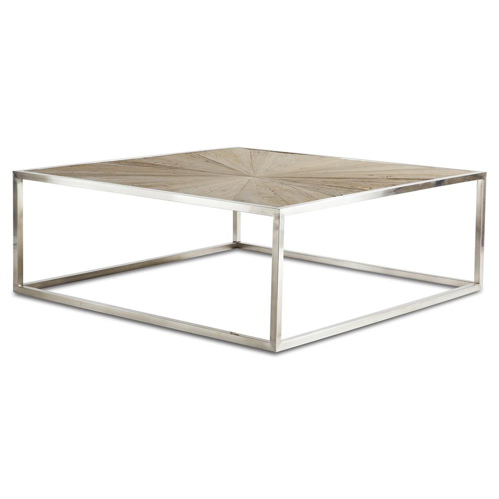 Katie Industrial Reclaimed Elm Brushed Steel Coffee Table Kathy Kuo Home
