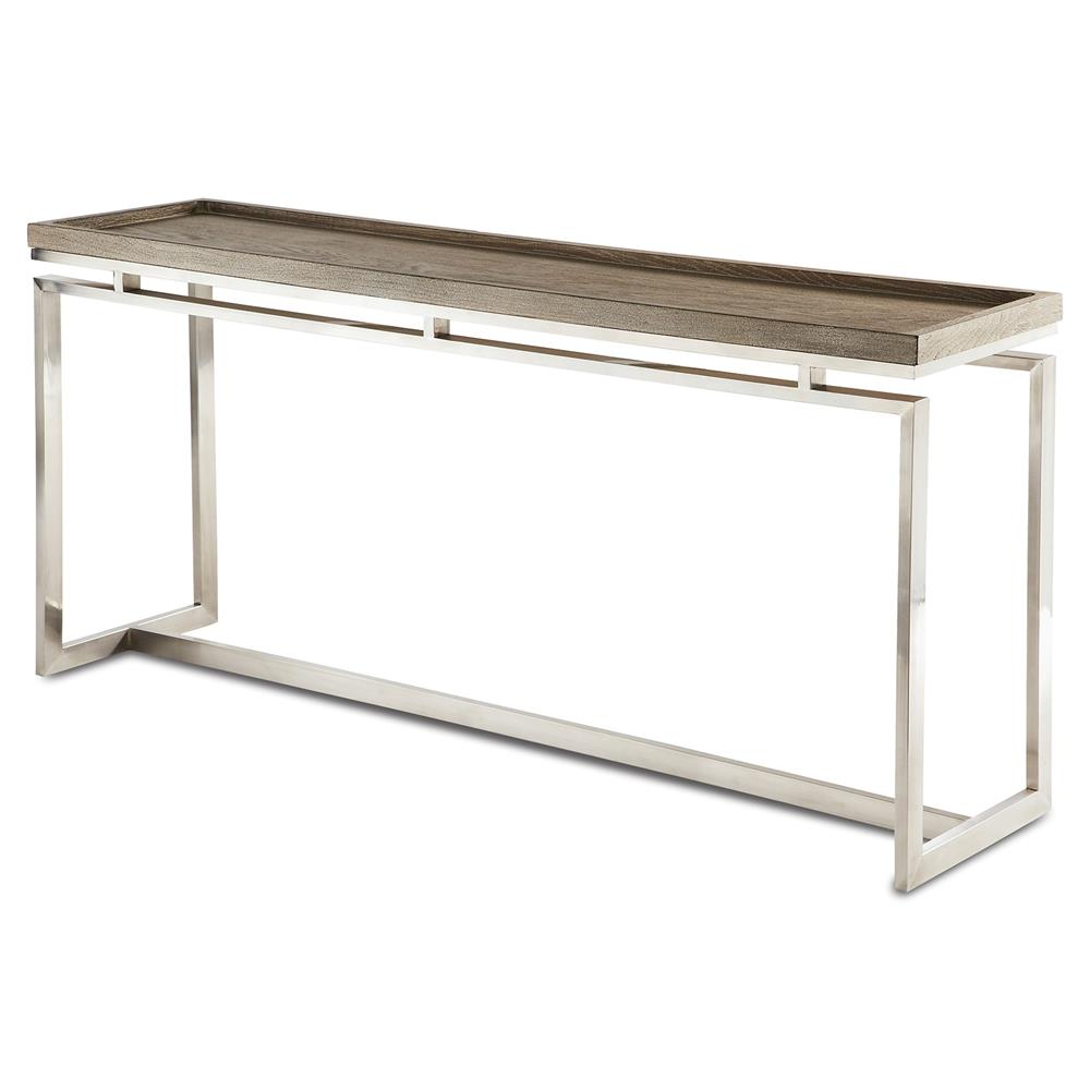 Amor Industrial Modern Polished Steel Oak Tray Console Table