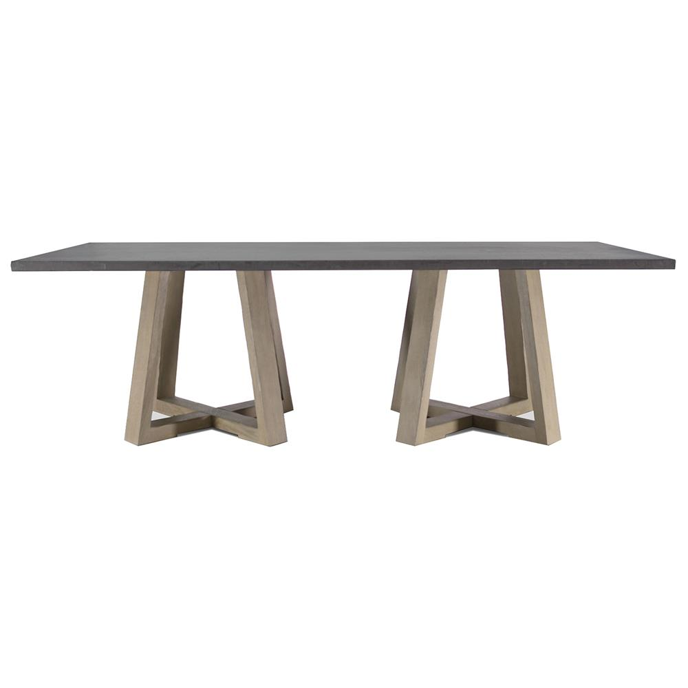 Dining Tables Bekah Industrial Rustic White Oak Cement Dining Table