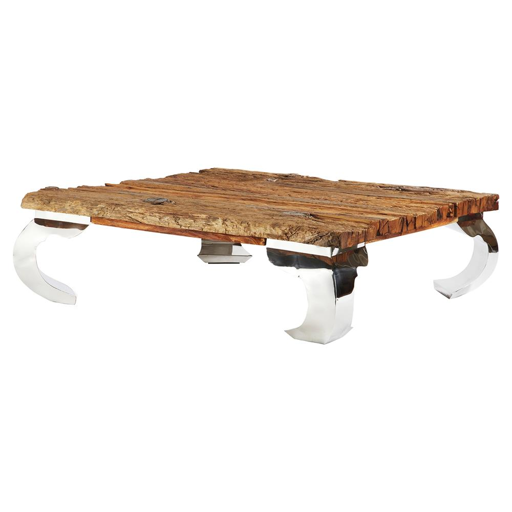 Brette modern steel reclaimed wood railroad square coffee for Reclaimed coffee table