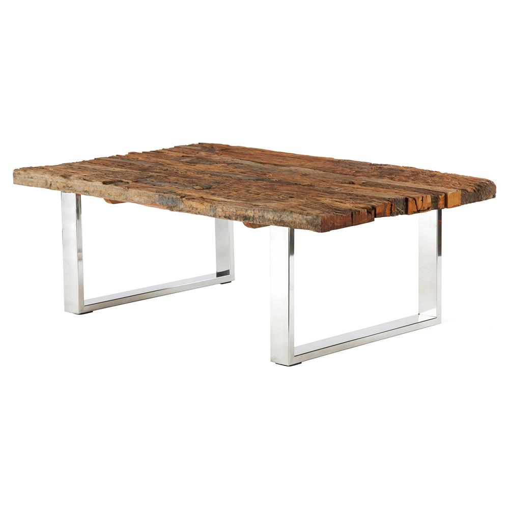 Brett Modern Steel Reclaimed Wood Railroad Rectangle Coffee Table Kathy Kuo Home