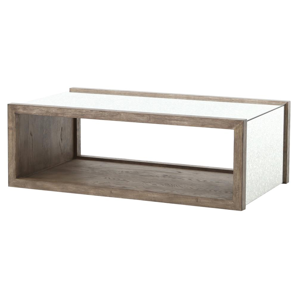 Philip Rustic Washed Grey Wood Antique Mirror Coffee Table Kathy Kuo Home