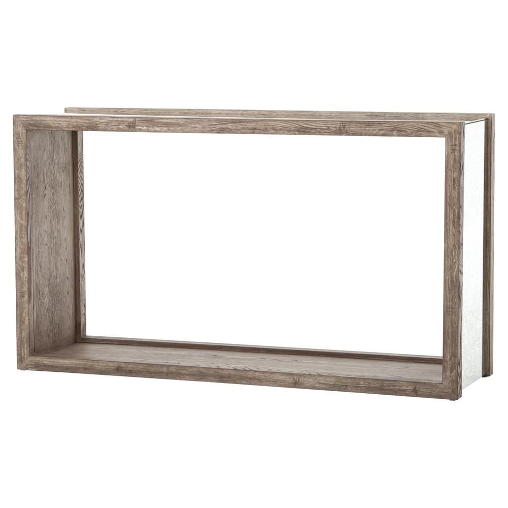 Philip Rustic Washed Grey Wood Antique Mirror Console