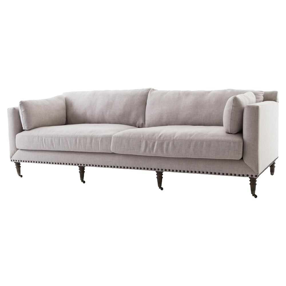 Norman modern classic taupe turned leg sofa kathy kuo home for Sofa modern classic