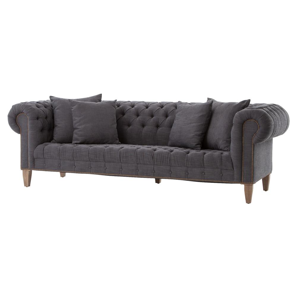 Foster modern classic dark grey tufted chesterfield style sofa for Classic loveseat