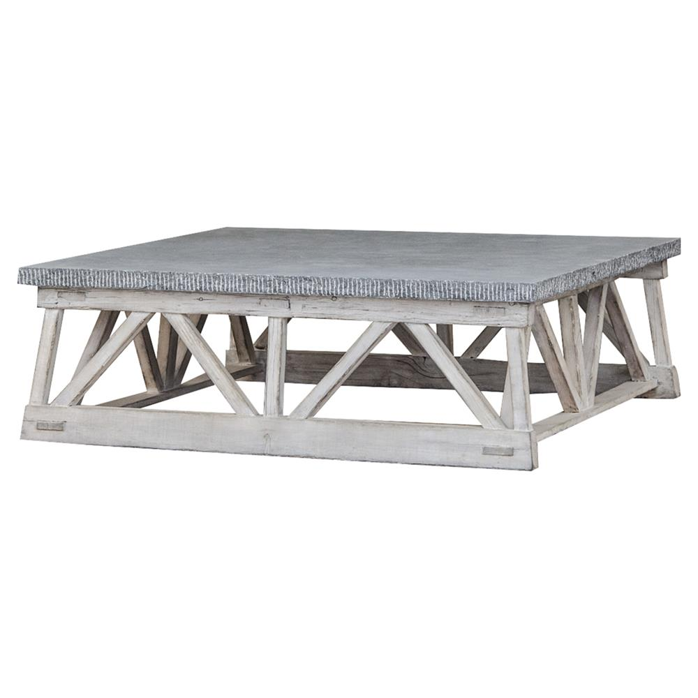 Kinzua Rustic Lodge Grey Wooden Trestle Grey Stone Coffee Table Kathy Kuo Home