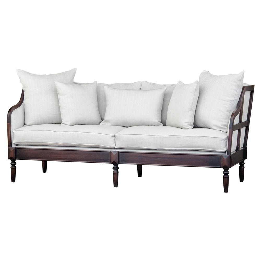Nouvel modern classic off white dark wood frame cabriole for Sofa modern classic