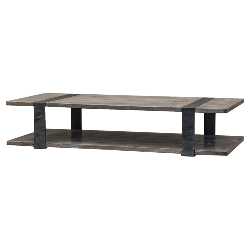 Gert industrial rustic grey brown wood slab metal coffee table for Gray wood and metal coffee table