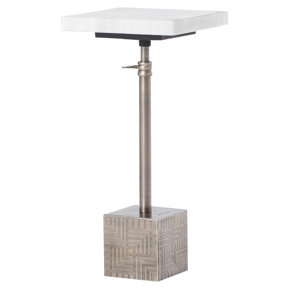 Hauer Industrial Silver Metal Cube Marble Adjustable End Table | Kathy Kuo  Home ...