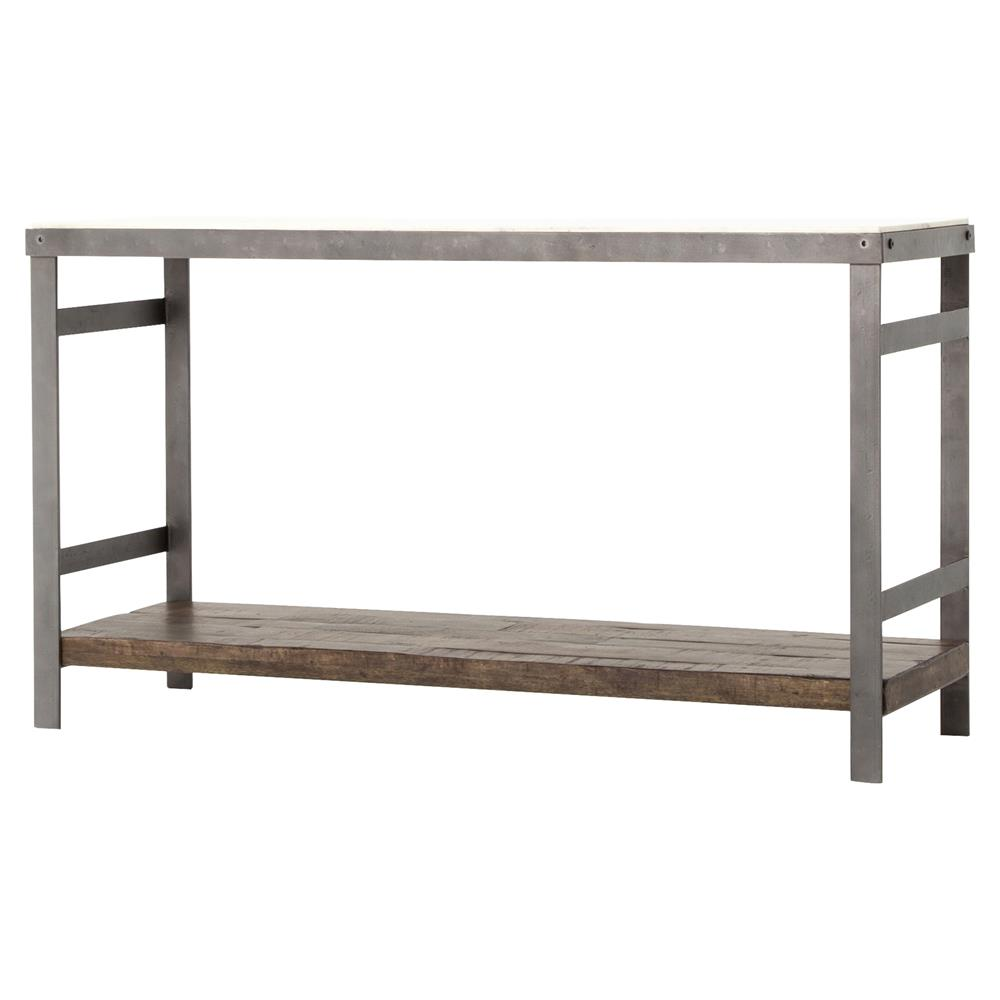 Baker Industrial Washed Metal Marble Top Console Table