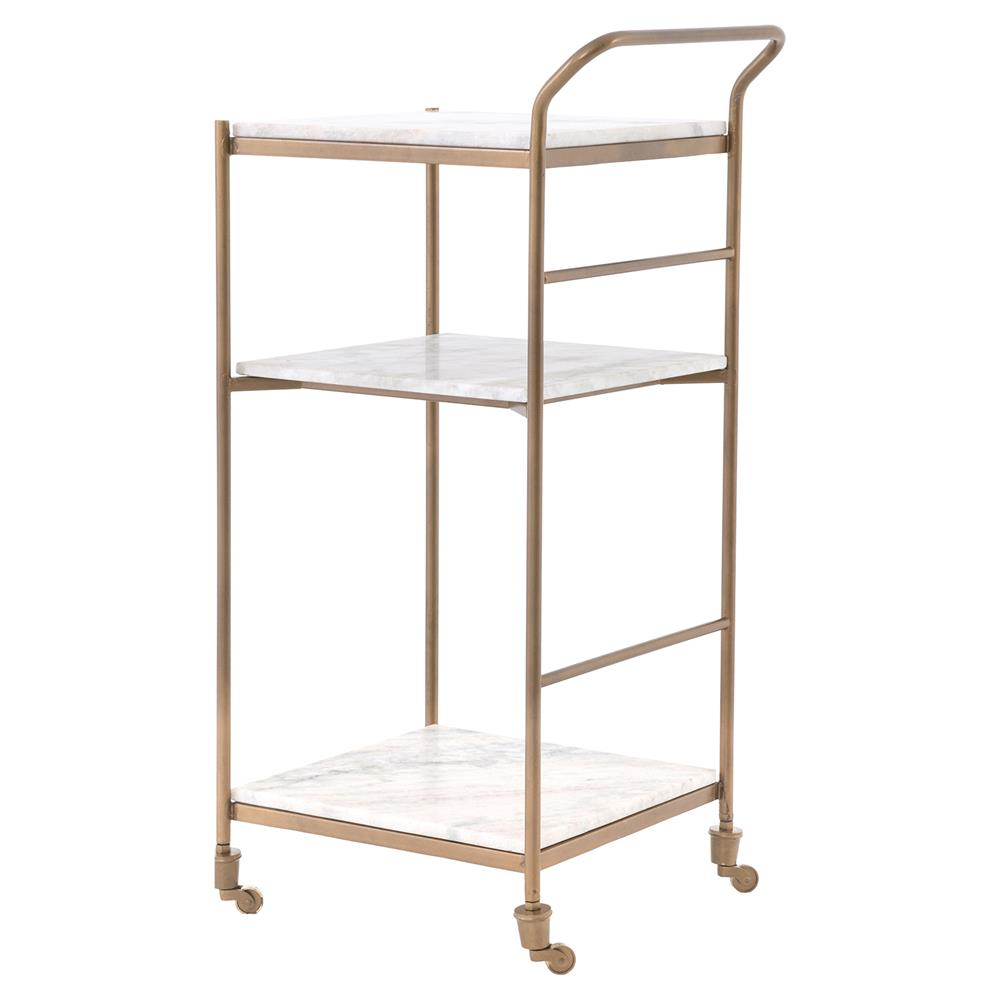 Arianna Modern Classic Brass Frame 3 Tier Marble Bar Cart | Kathy Kuo Home