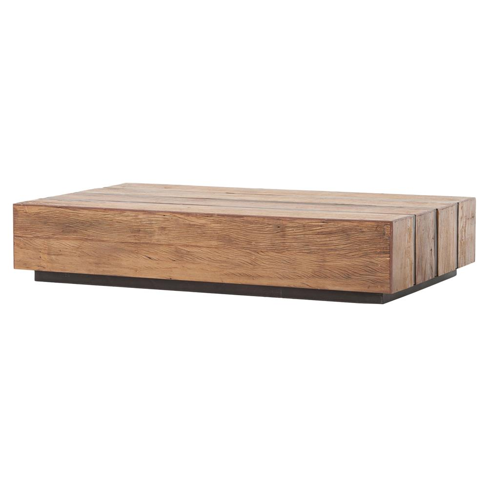 boyce rustic lodge honey wood block metal coffee table kathy kuo home