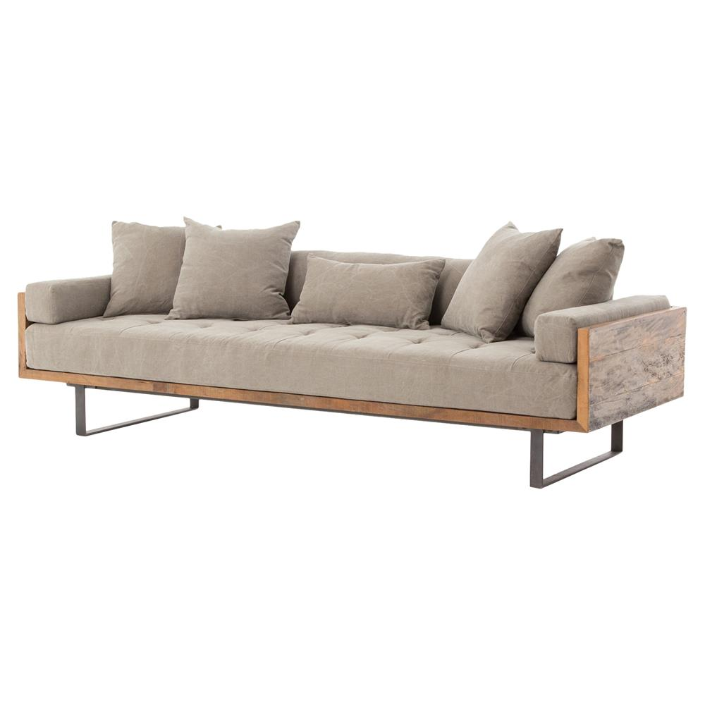 Lloyd Industrial Lodge Taupe Tufted Cushion Wood Frame Sofa | Kathy Kuo  Home ...