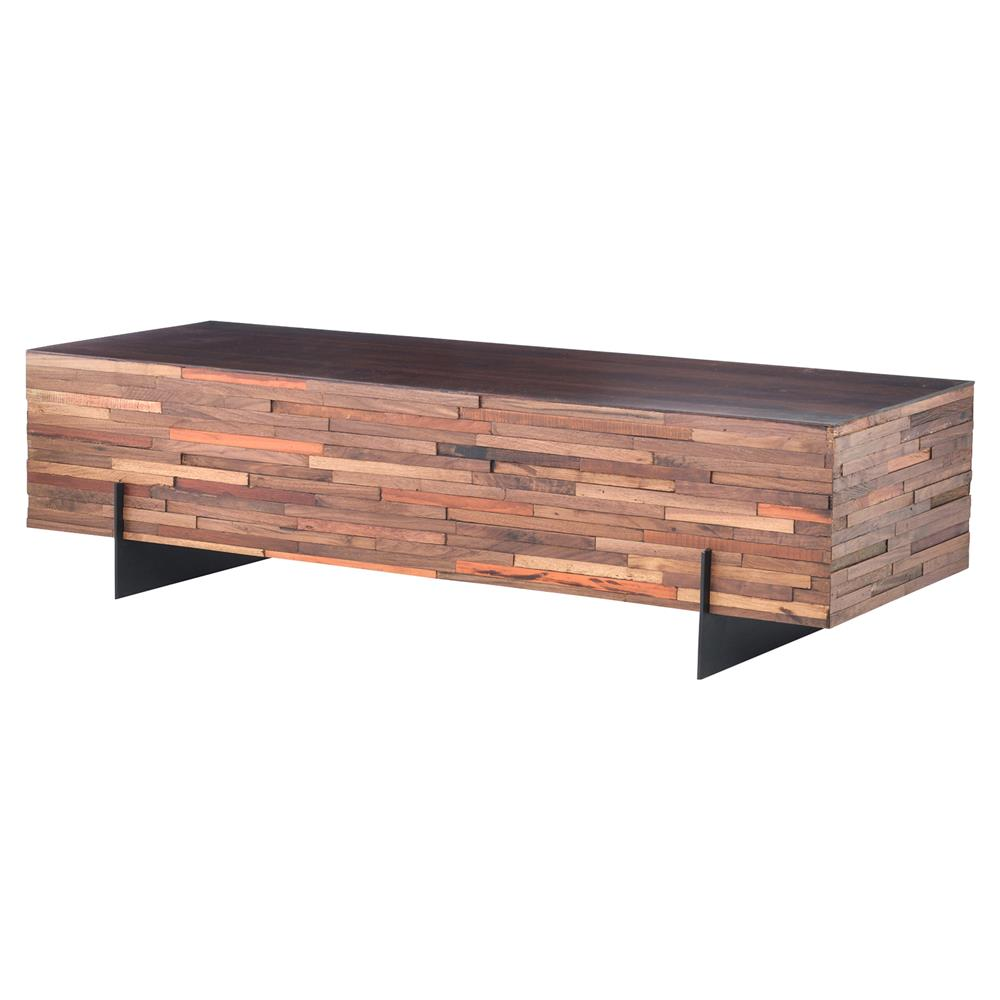 Reclaimed Wood And Metal Coffee Table: Givens Industrial Lodge Reclaimed Wood Black Steel
