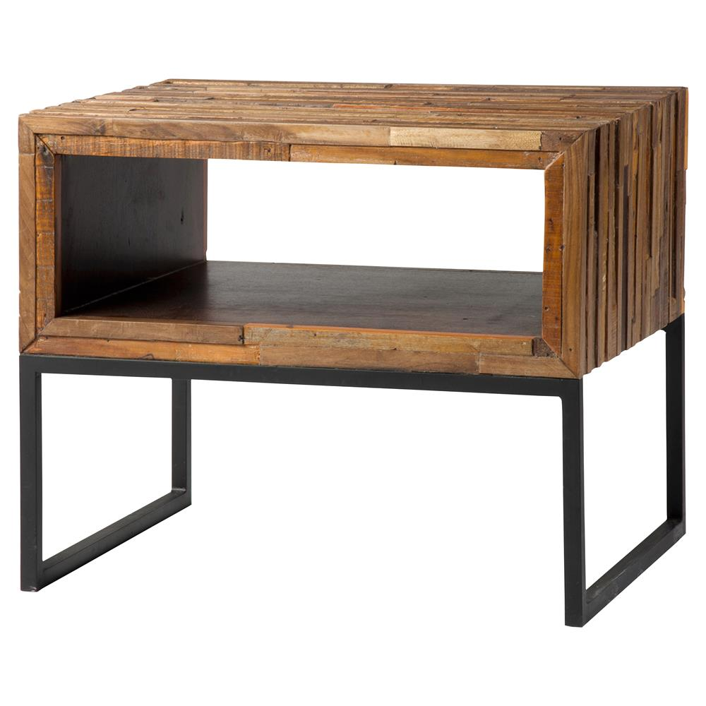 Blivens industrial lodge reclaimed wood iron open storage for Iron and wood side table