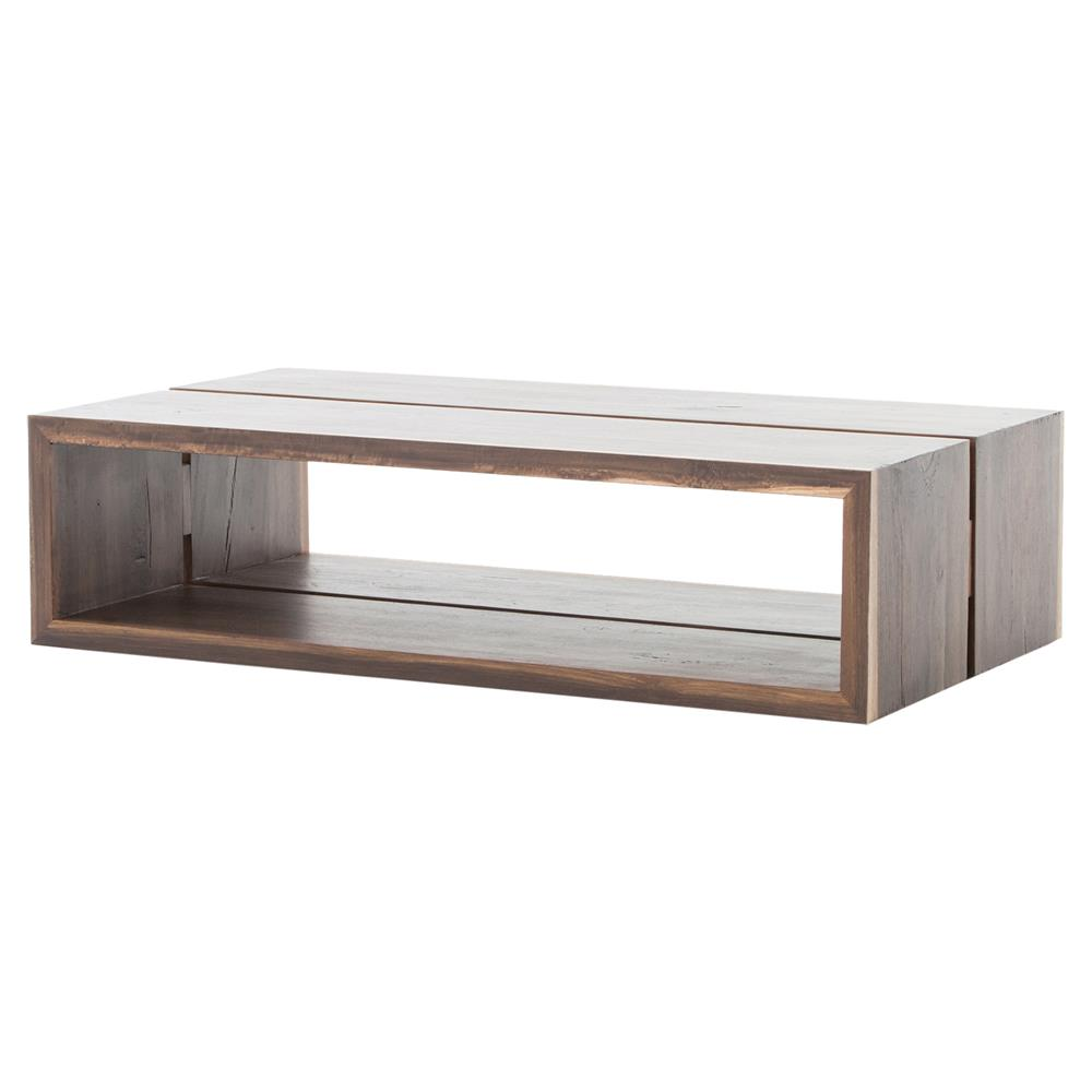 Peppi Rustic Lodge Hollow Polished Brown Wood Coffee Table