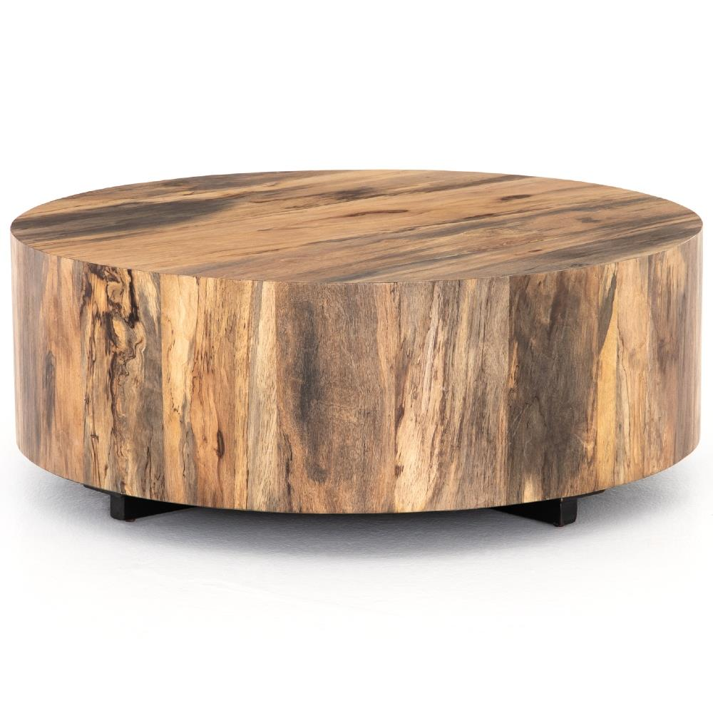 Barthes rustic lodge round natural wood block coffee table kathy kuo home Rustic round coffee table