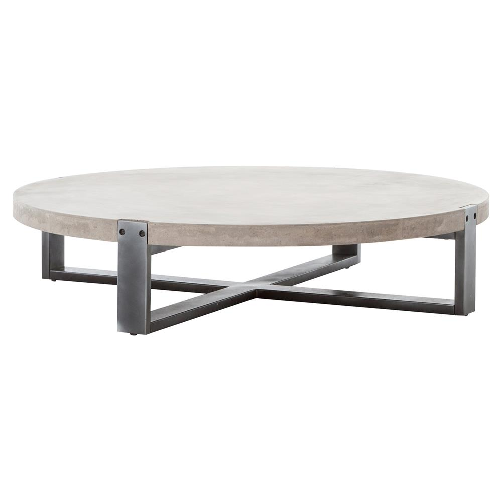Frantz Loft Modern Grey Concrete Low Round Coffee Table - 55D | Kathy Kuo Home