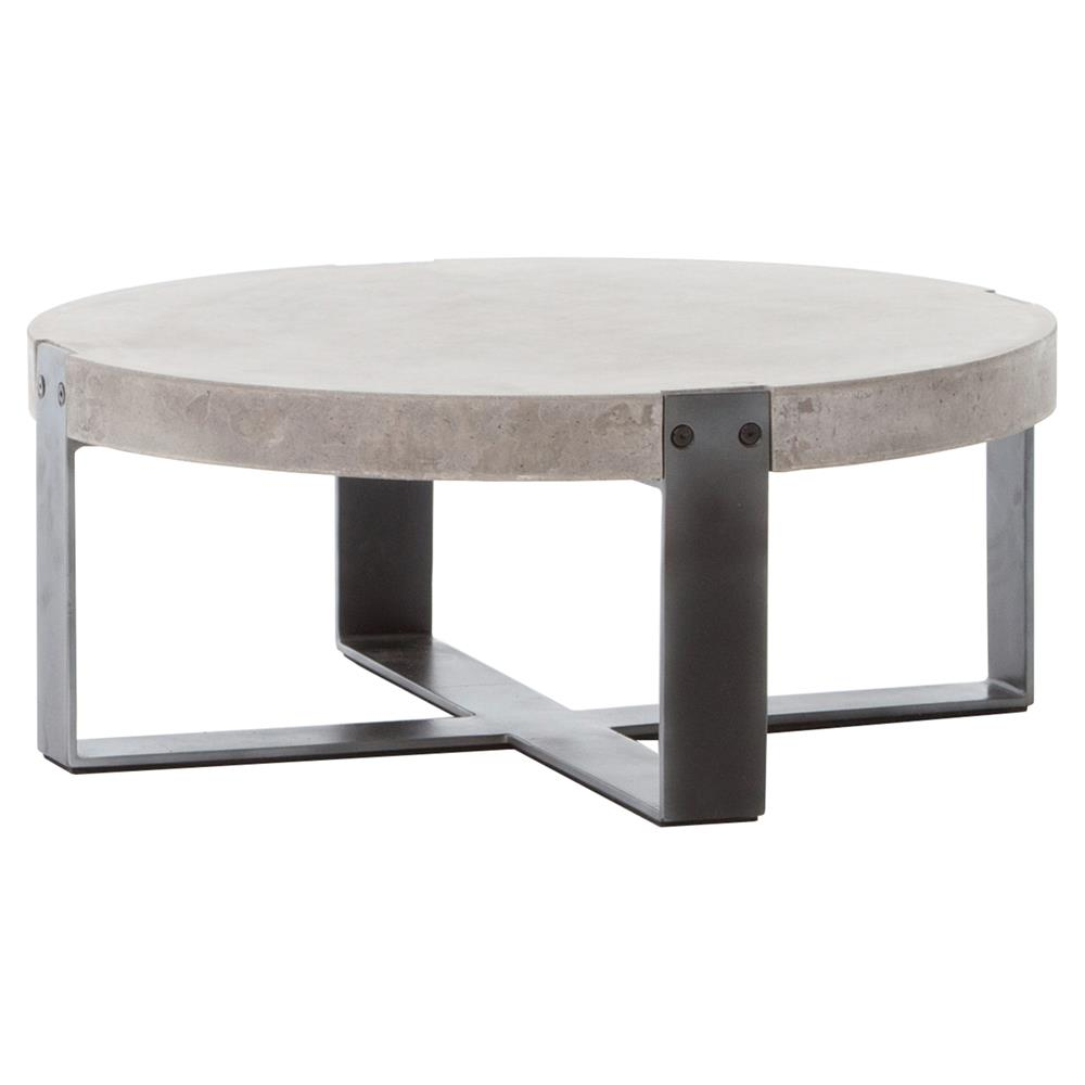 Round Coffee Table: Frantz Loft Modern Grey Concrete Low Round Coffee Table- 30D