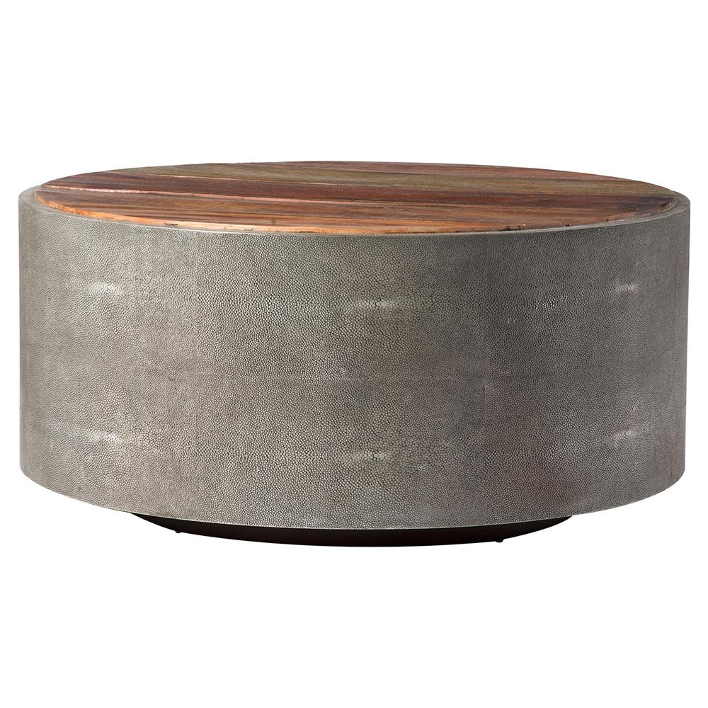 Dieter Rustic Modern Grey Faux Shagreen Wood Round Coffee Table Kathy Kuo Home