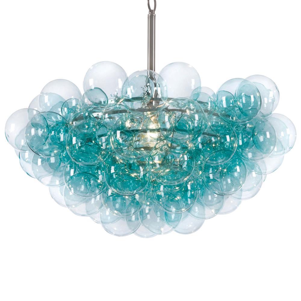 Sima Modern Floating Glass Bubbles Aqua Chandelier Kathy
