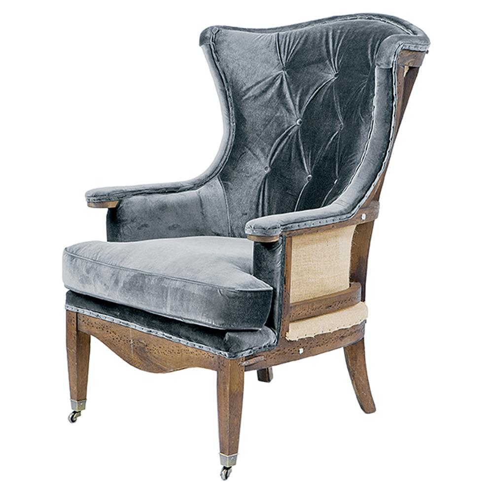 Ordinaire Fenella French Country Charcoal Velvet Deconstructed Wing Chair | Kathy Kuo  Home