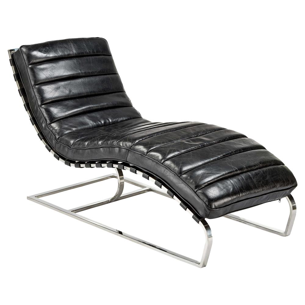 Jovan modern classic retro black leather chaise lounge for Black leather chaise longue