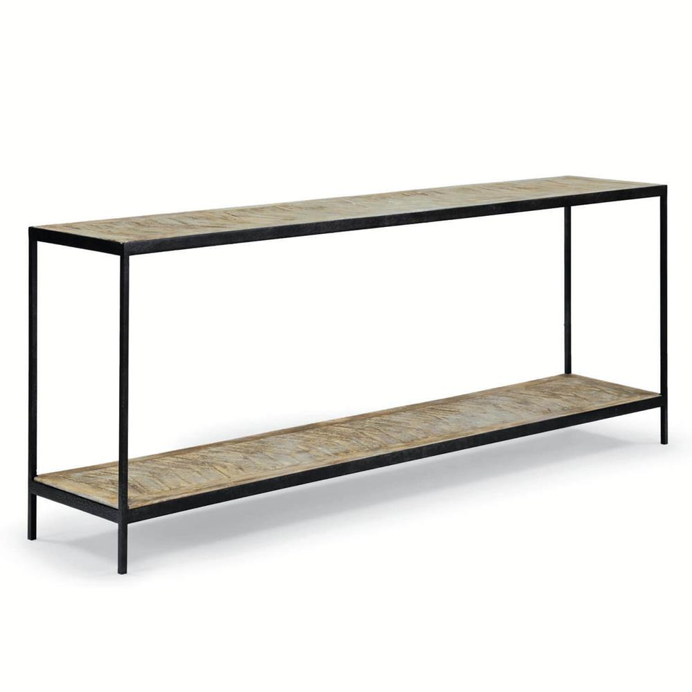 greenlee lodge herringbone wood black metal console table kathy kuo home. Black Bedroom Furniture Sets. Home Design Ideas