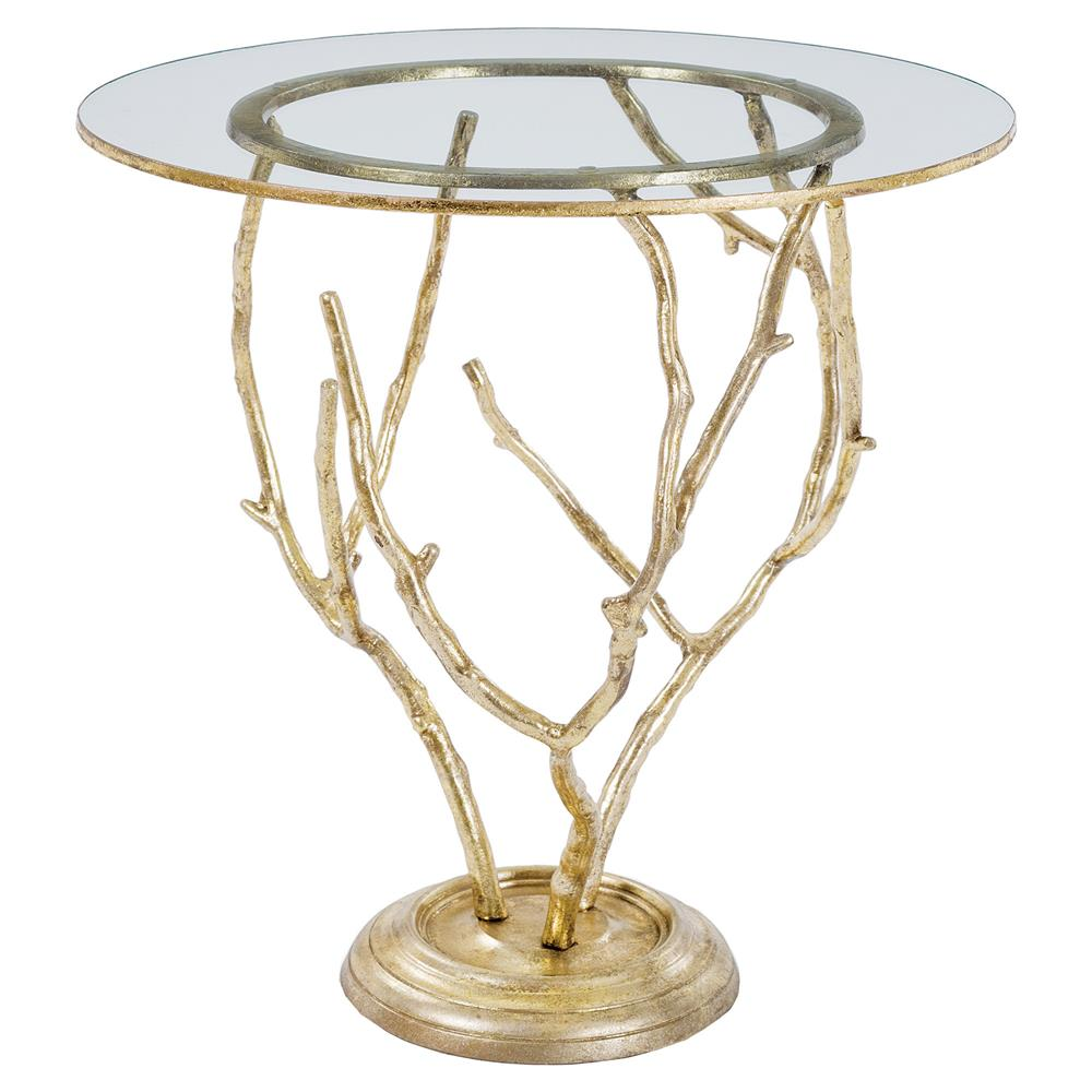 Haylen modern classic gold branch round end table kathy for Round gold side table