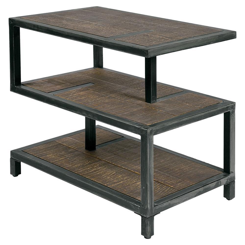 Everton lodge industrial grey metal rustic wood end table for Rustic industrial end table