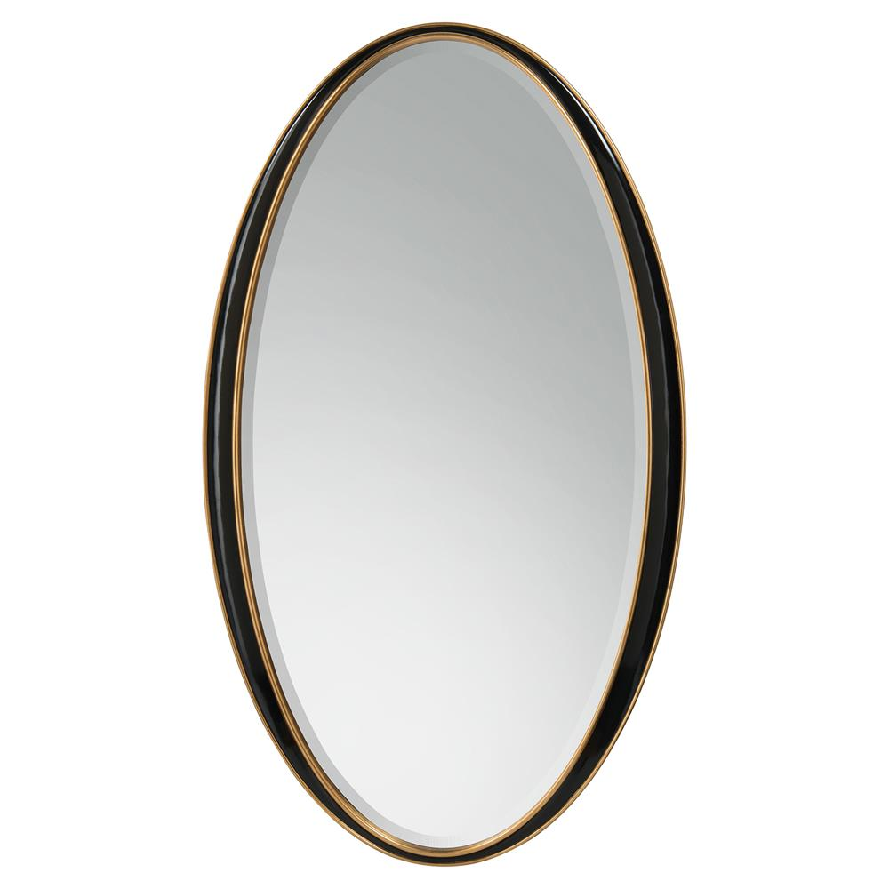 Clark hollywood regency black lacquer oval wall mirror for Black wall mirror