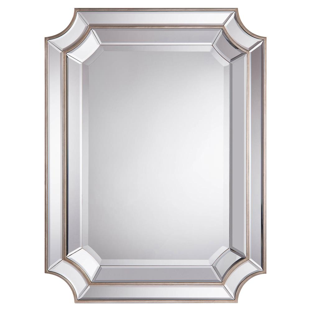 Antoinette regency double tiered beveled edge silver wall for Beveled wall mirror