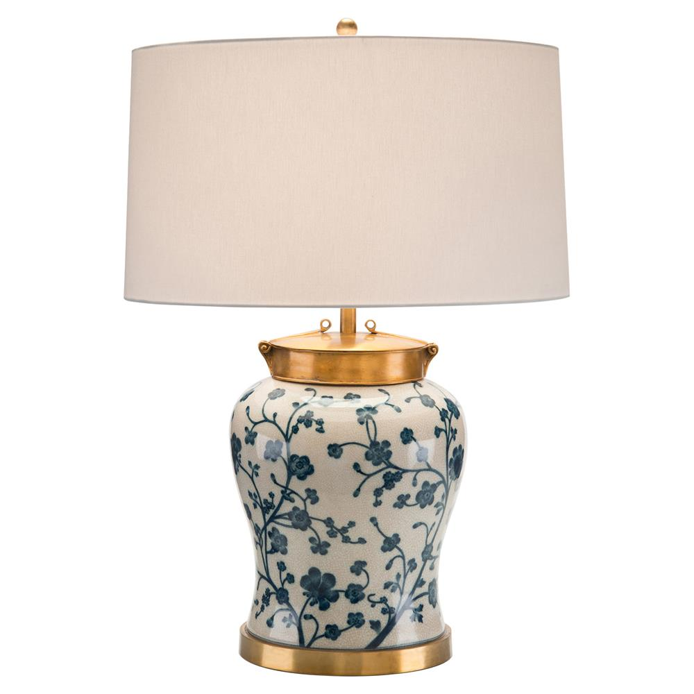 Designer table lamps eclectic table lamps kathy kuo home tellulah coastal global blue floral brass table lamp kathy kuo home geotapseo Images