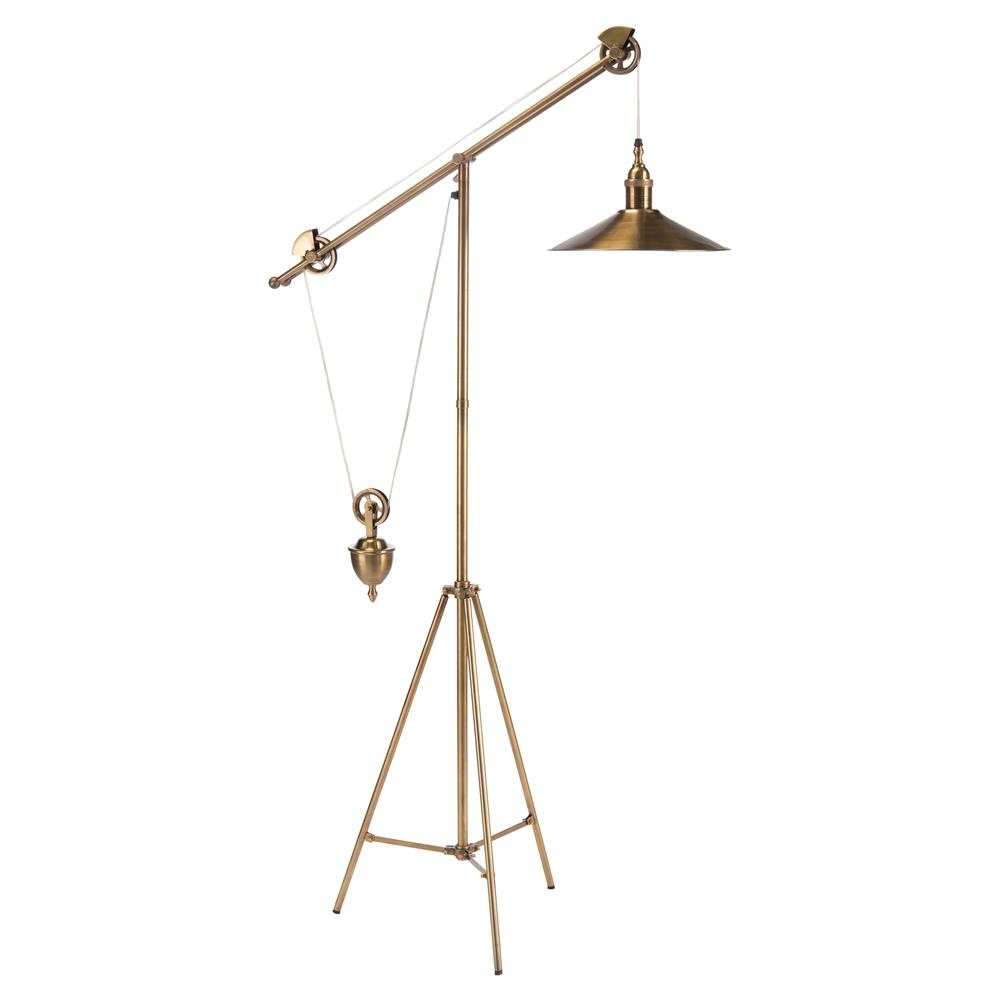 Graham Industrial Loft Vintage Brass Pulley Floor Lamp | Kathy Kuo Home