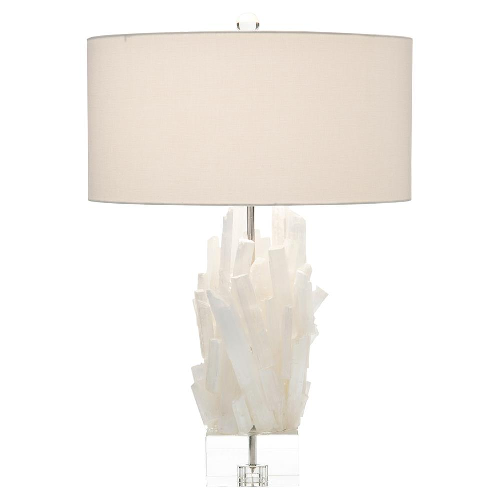 Henrietta Coastal White Crystal Column Acrylic Table Lamp | Kathy Kuo Home