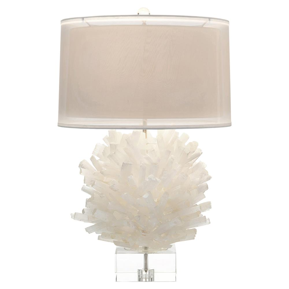 coastal modern white selenite crystal orb table lamp kathy kuo home. Black Bedroom Furniture Sets. Home Design Ideas