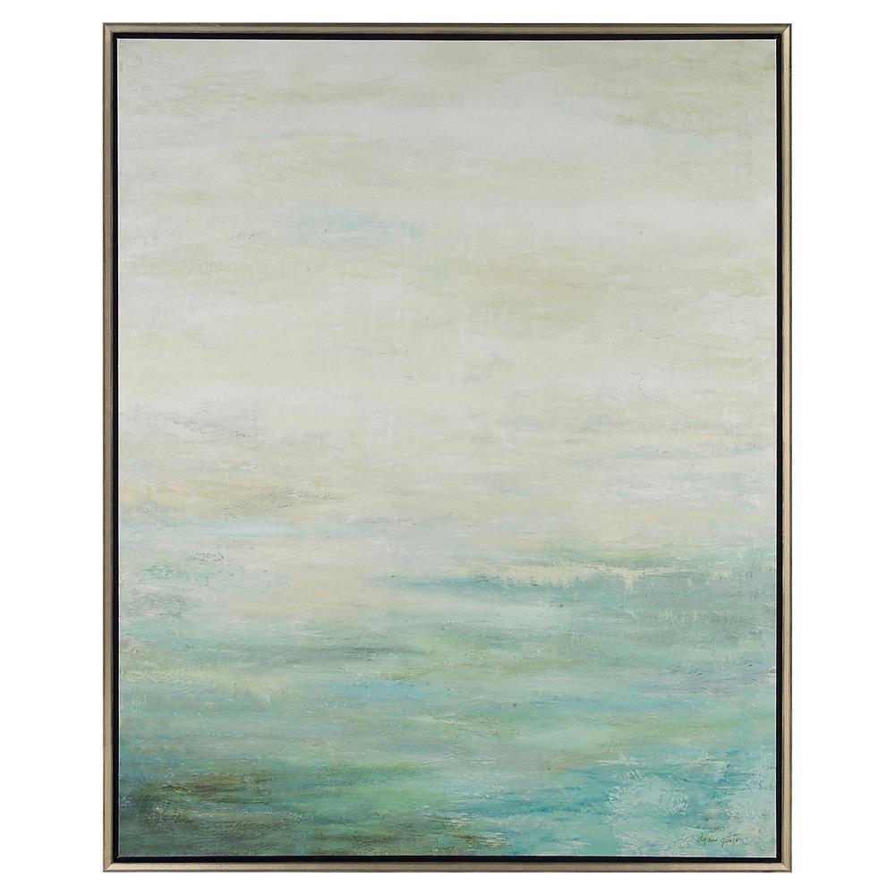 John-Richard Rockport Coastal Beach Hand Brushed Canvas Silver ...