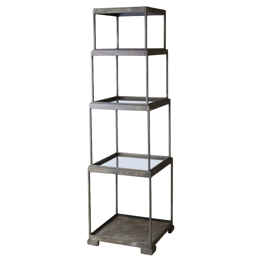 fritz industrial loft stacked bronze cube etagere kathy kuo home. Black Bedroom Furniture Sets. Home Design Ideas