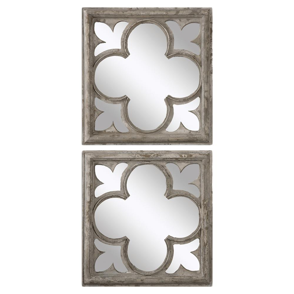 Gaston French Antique White Wood Quatrefoil Mirror Pair Kathy Kuo Home
